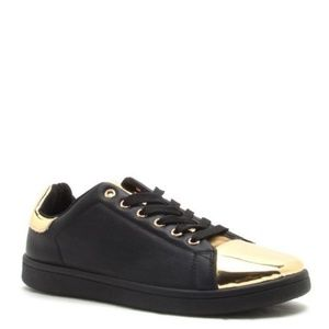 BOGO 1/2 OFF | Black & Gold Embossed Sneakers